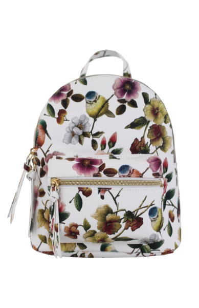 Summer Blooms Backpack in White & Fuschia