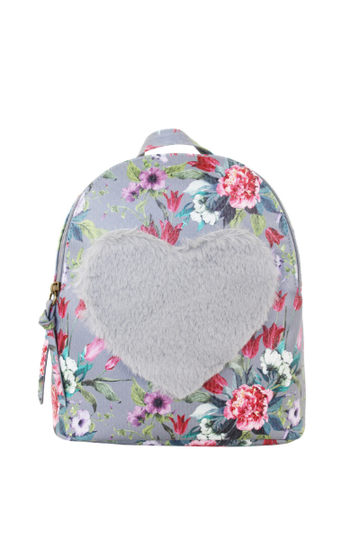 Floral Love Backpack in Grey