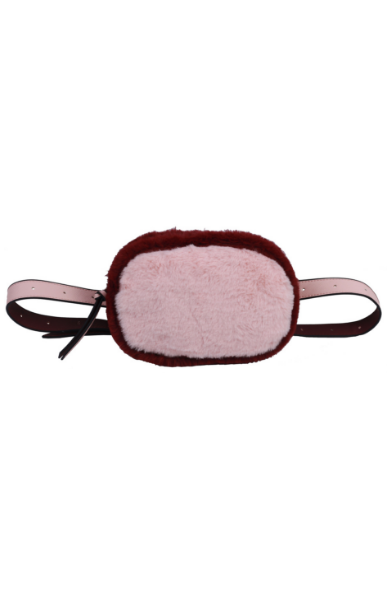 Olivia Belt Bag in Blush & Burgundy Fur