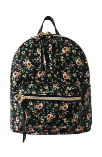 Summer Blooms Backpack in Black & Green