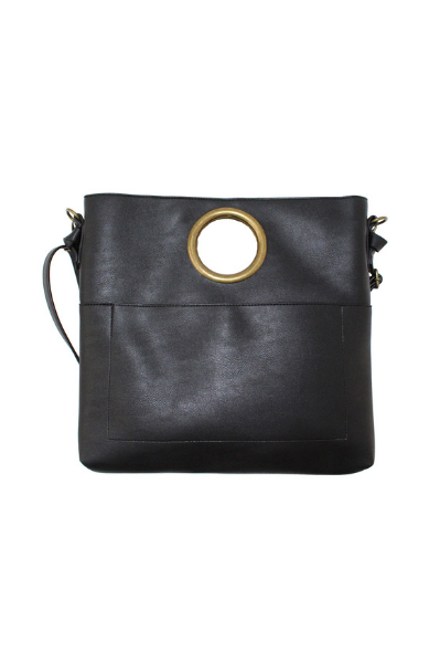 Olivia Ring Handle Bag in Black