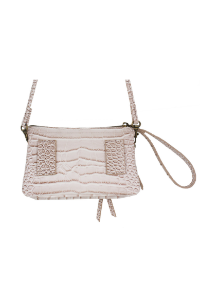 Maria Mini Wristlet in Blush Croc