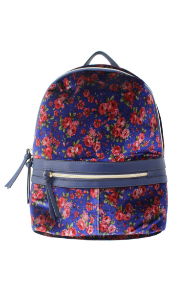 Velvet Floral Backpack in Blue