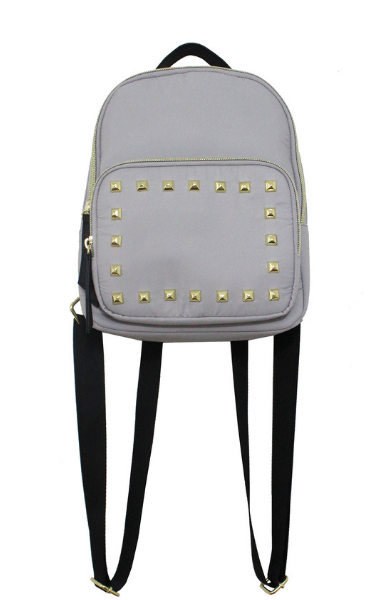 Nylon Backpack With Studs in Grey