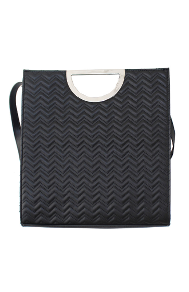 Sprinkles Quilted Ring Tote in Black