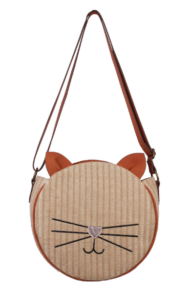 Basket Cat Crossbody in Natural Straw