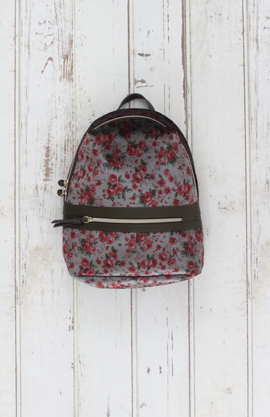 Velvet Floral Backpack in Grey