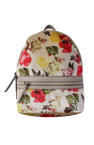 Velvet Floral Backpack in Bone