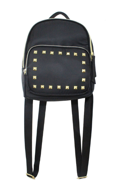 Nylon Backpack With Studs in Black