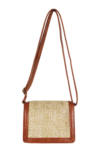 Milo Flap Crossbody in Cognac & Straw