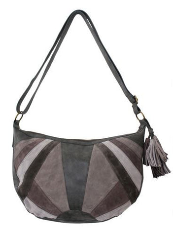 Patch Hobo With Tassel in Gray