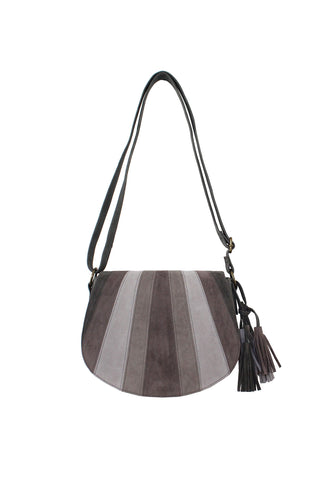 Patch Saddle Bag With Tassel In Gray