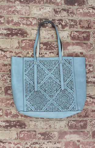 Laser Perf Tote in Blue