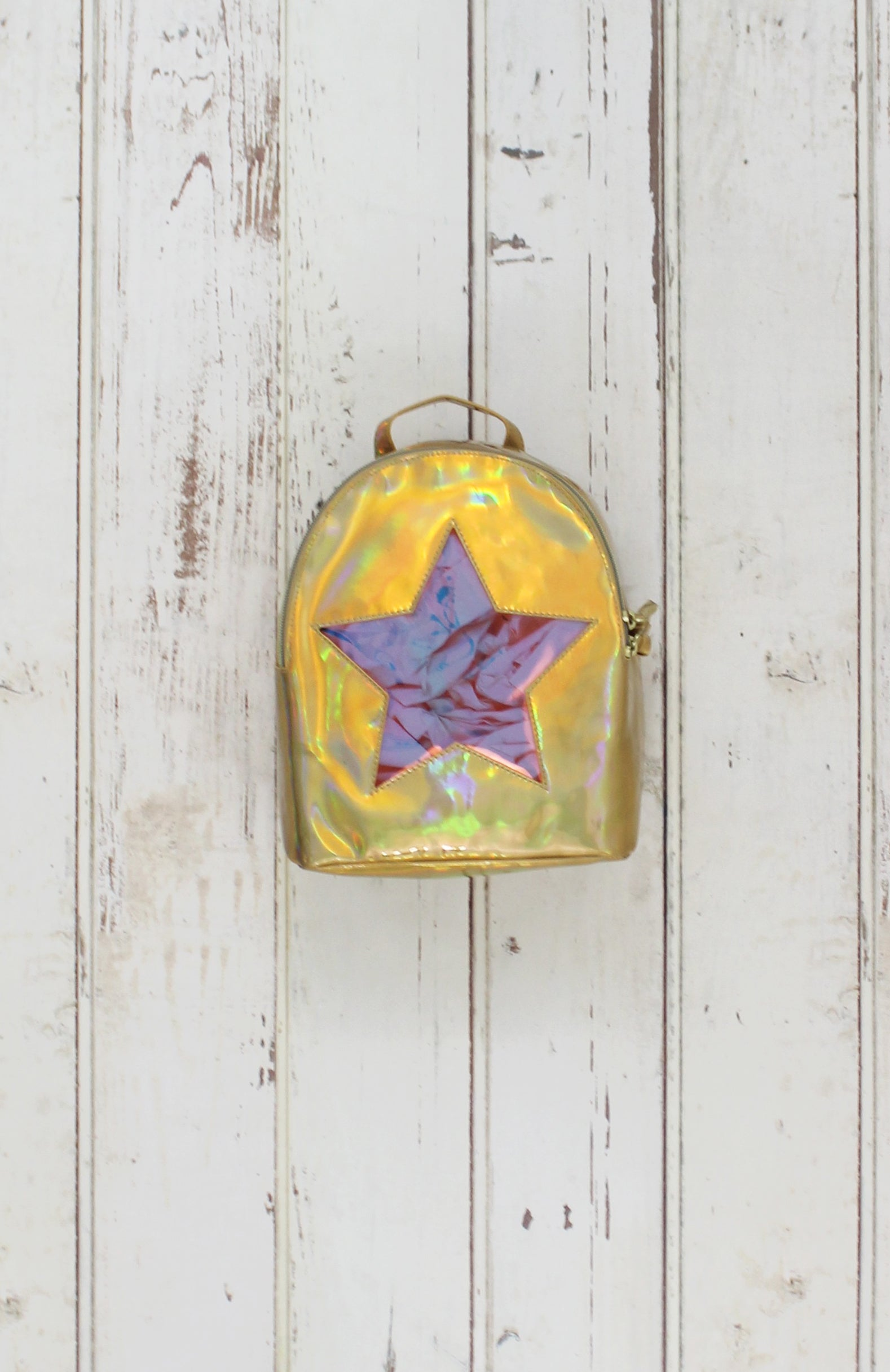 Holographic Star Backpack in Gold