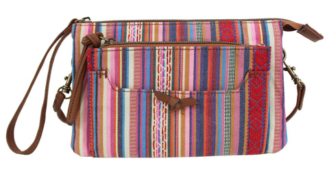Moto Crossbody in Pink Stripe