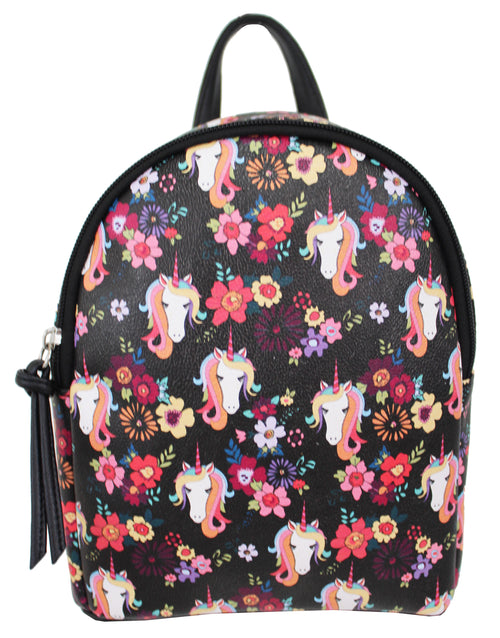 Floral Unicorn Mikey Backpack in Black
