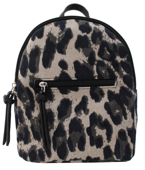 Corduroy Mikey Backpack in Gray Leopard