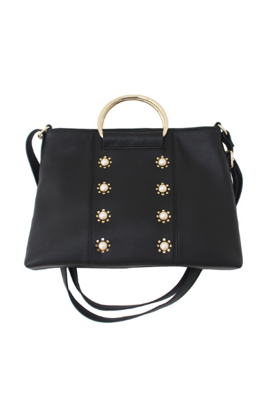Pearled Ring Satchel in Black