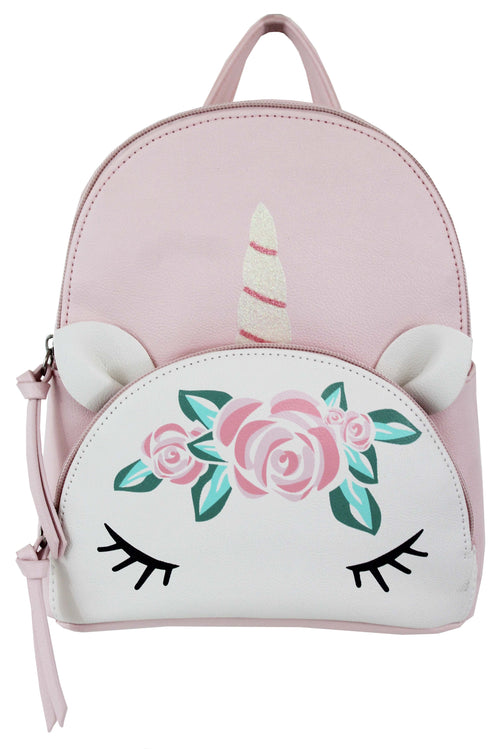 Unicorn Flower Crown Pocket Backpack in Blush