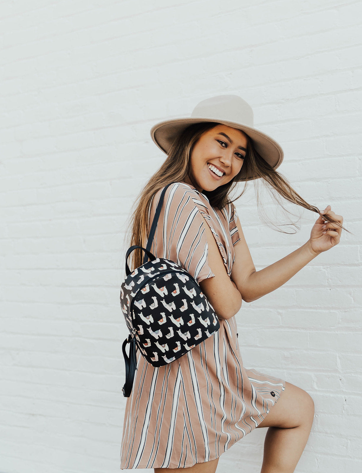 Llamas on Repeat Backpack in Black