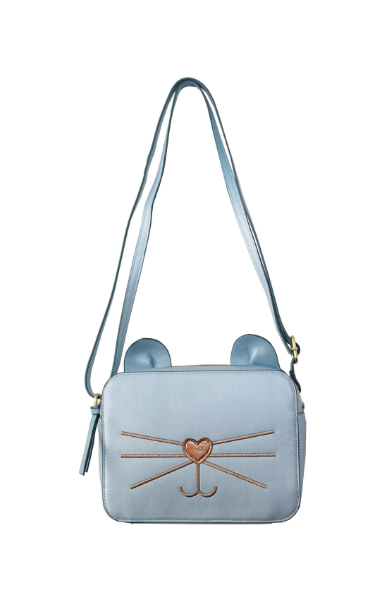 Check Meowt Crossbody in Light Blue & Rose Gold