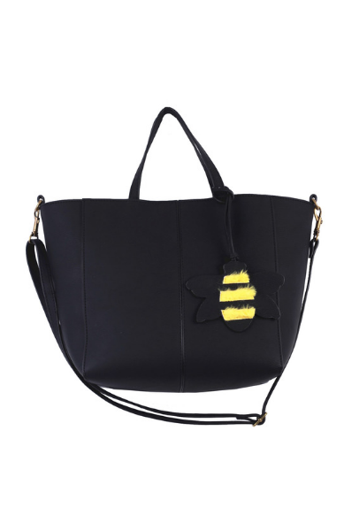 Mini Tote with Plush Bee Charm in Black
