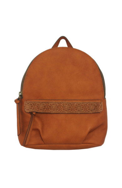 Maya Mini Backpack in Crochet Cognac