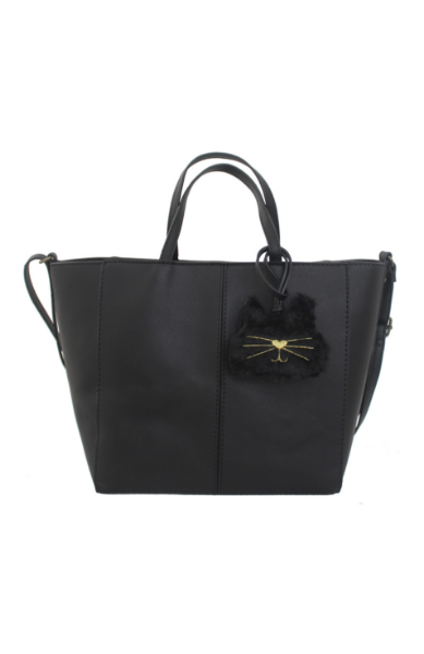 Mini Tote with Plush Cat Charm in Black