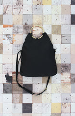 Lexi Ring Fold-over Satchel in Black
