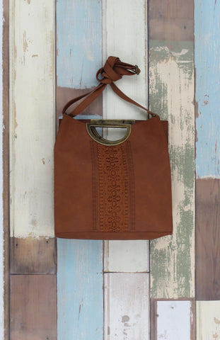 Cassidy Ring Tote in Crochet Cognac