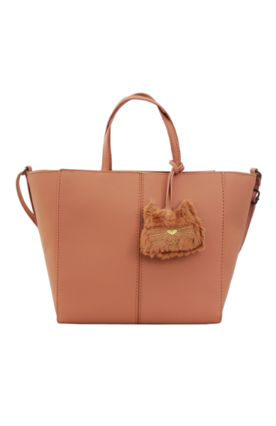 Mini Tote with Plush Cat Charm in Peach