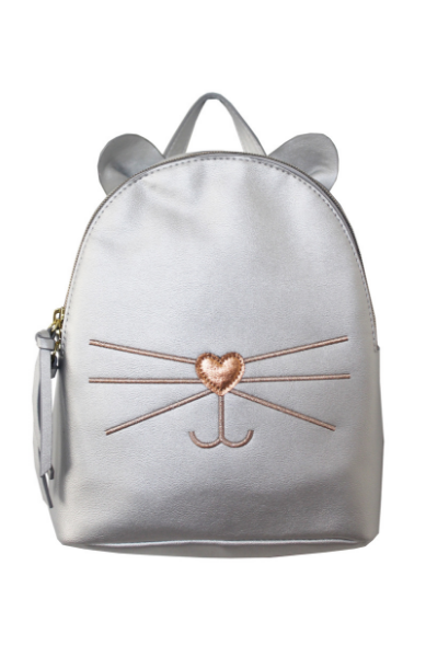 Check Meowt Backpack in Silver & Rose Gold