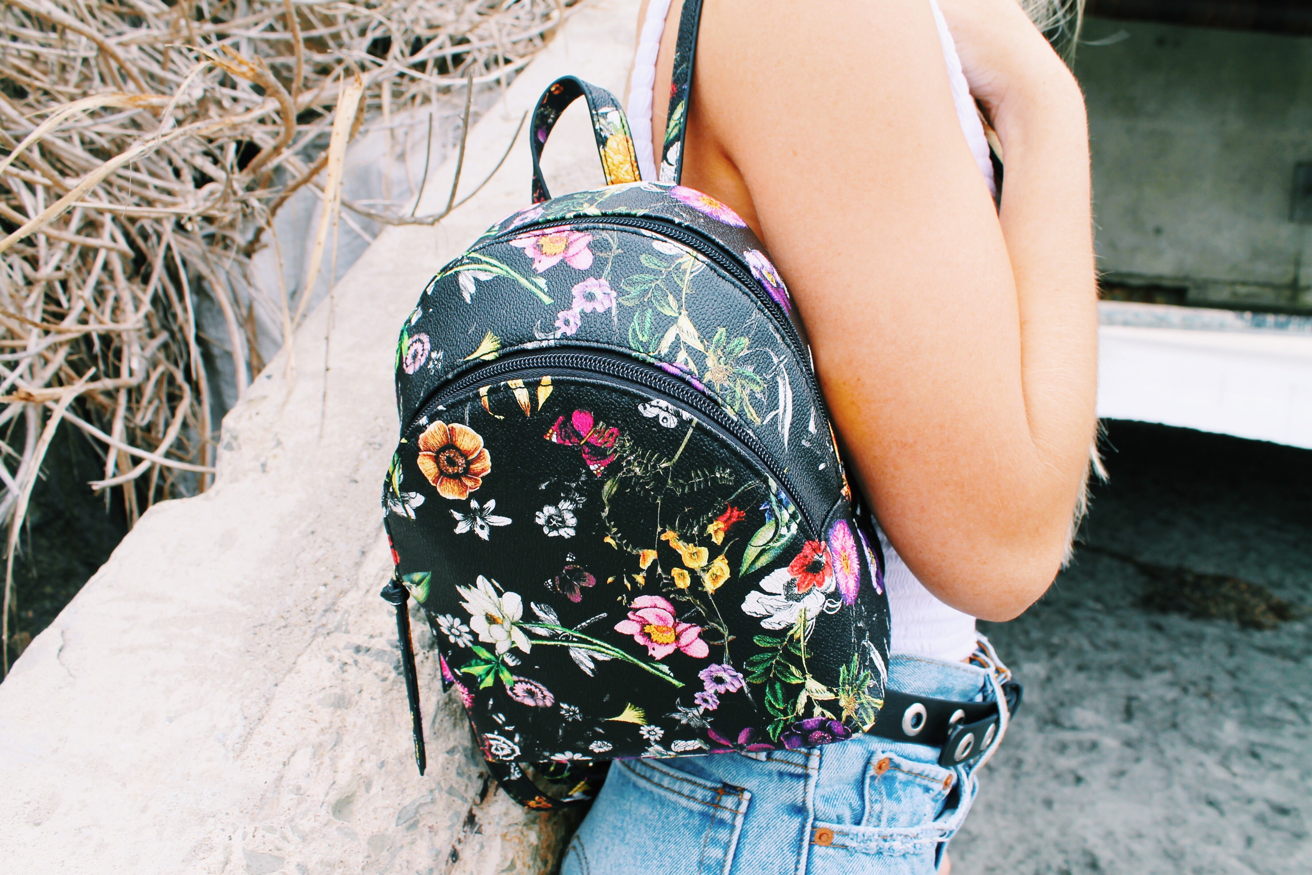 Charlotte Double Zip Backpack in Floral