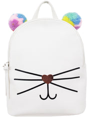 Rainbow Pom Emma Backpack in Bone