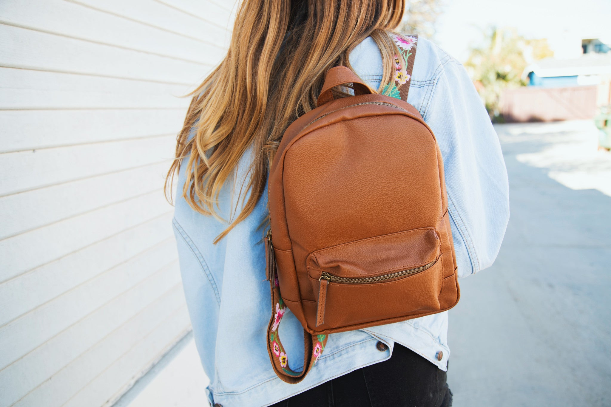 Dome Backpack With Printed Floral Straps