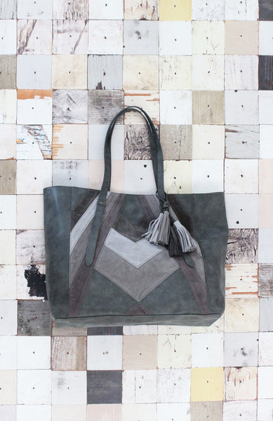 Patchwork Tote in Grey Multi