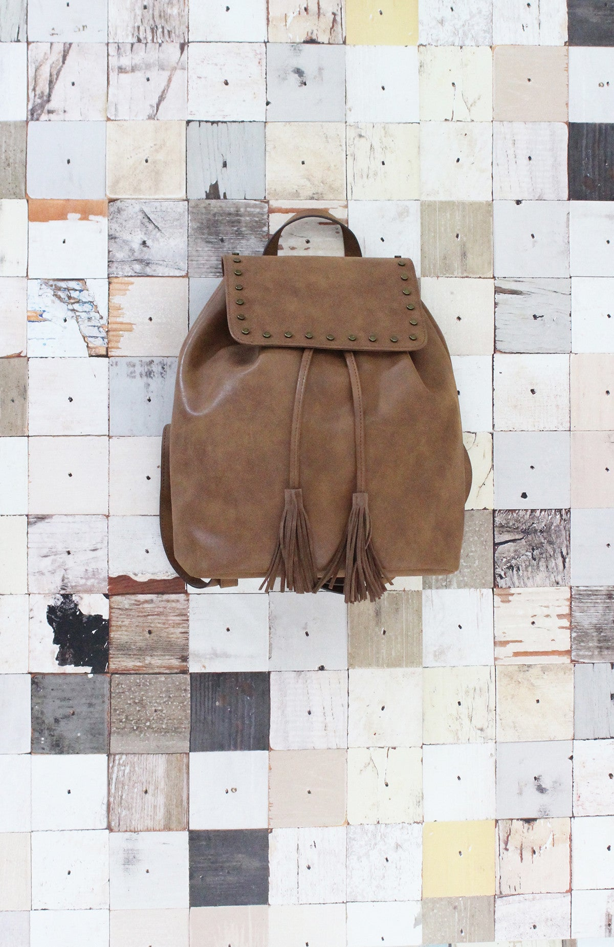Backpack with Studs in Cognac