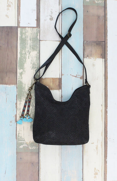 Perf Hobo with Tassel in Black