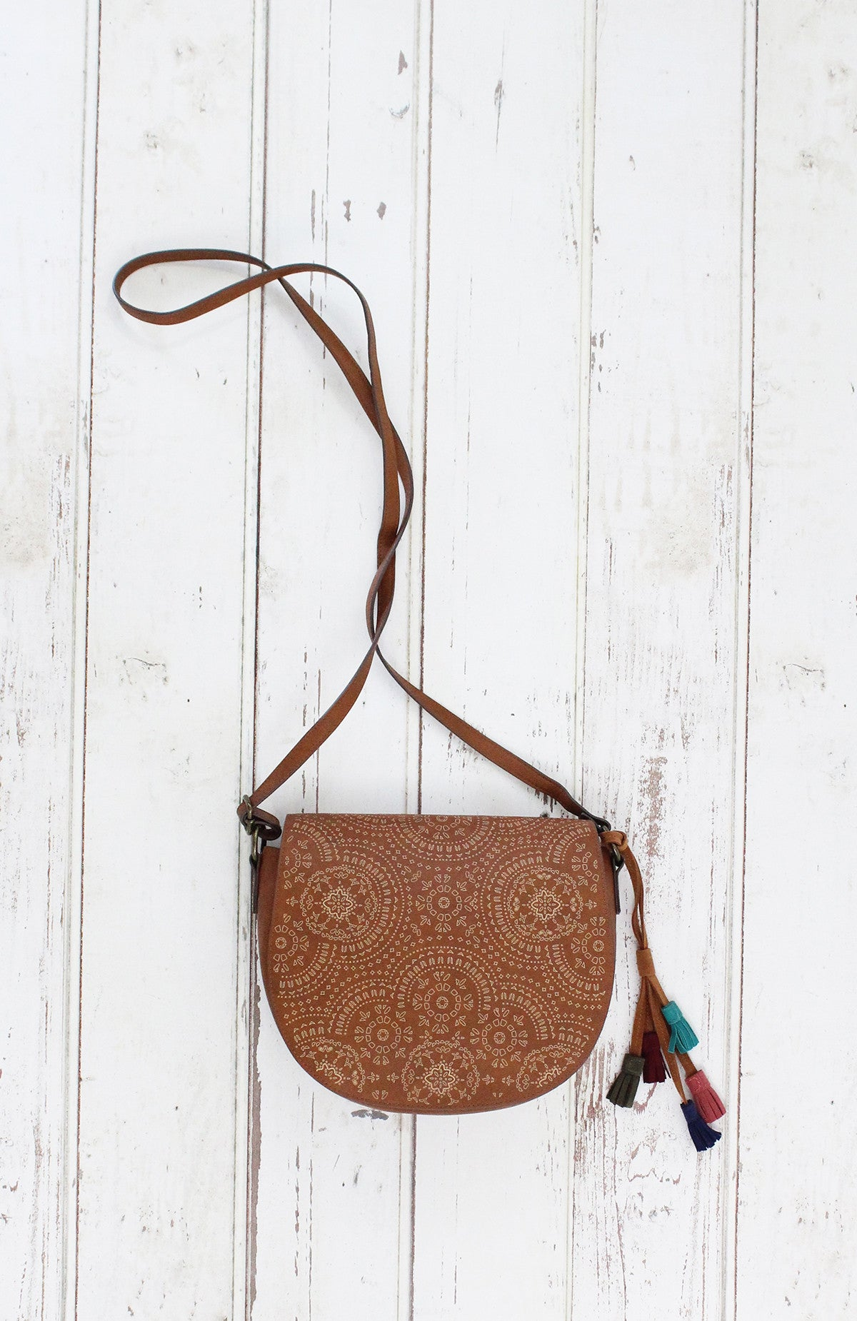 Laser Peel Saddle Bag in Cognac