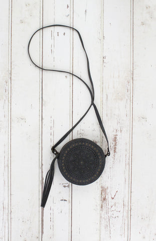 Moroccan Muse Round Crossbody in Grey