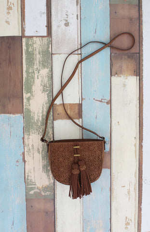 Lace Mirage Crossbody in Cognac