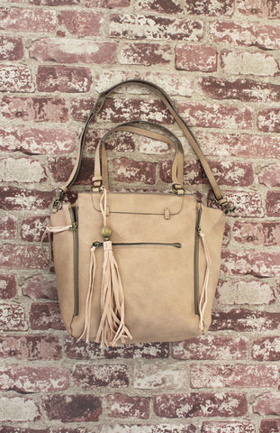 Cracked Earth Tote with Tassel in Tan