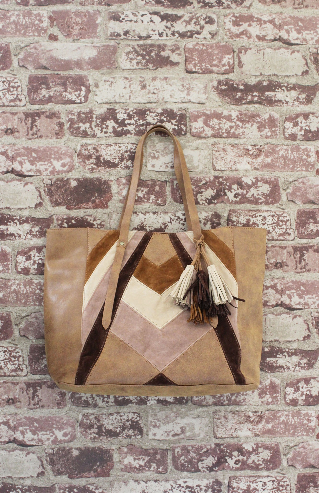 Patchwork Tote in Brown Multi