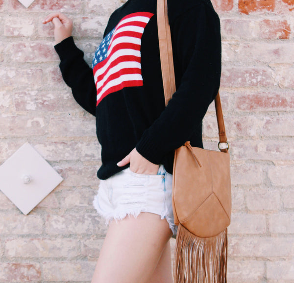 Fringe Crossbody In Brown