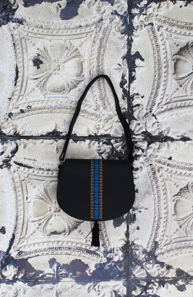 Saddle Bag with Ribbon and Tassel in Black