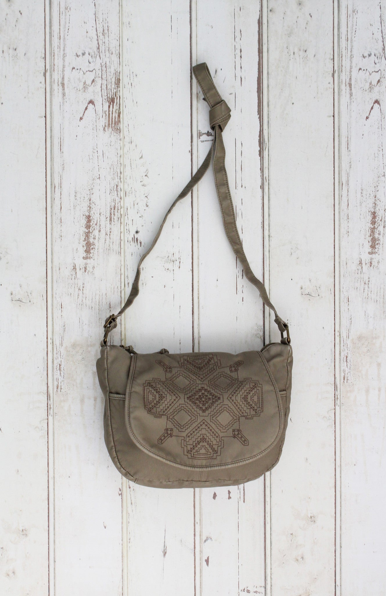 Washed Flap Crossbody with Embroidery in Mushroom