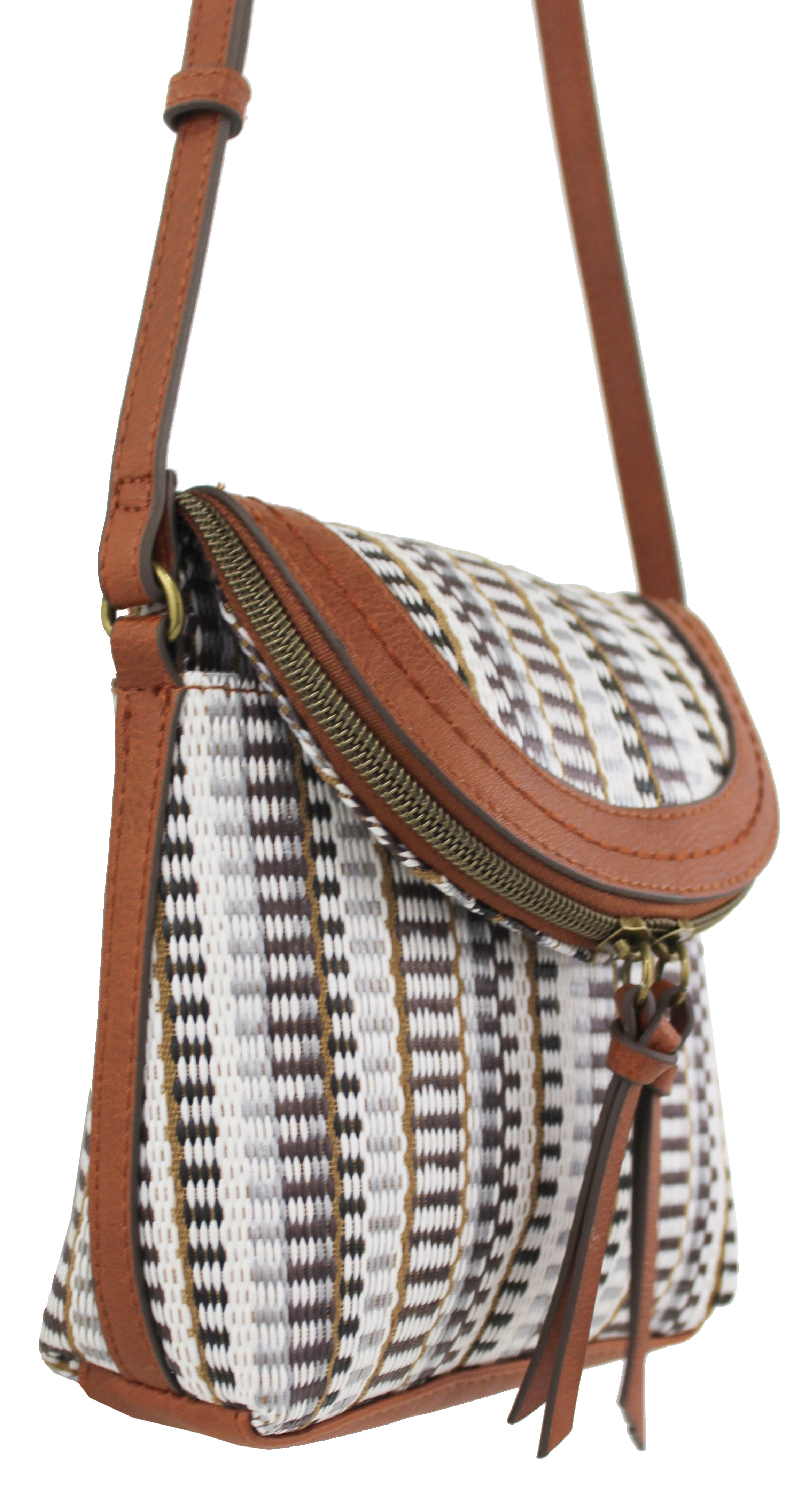 Metro Crossbody in White Stripe