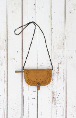 Flap Crossbody With Chain Strap In Chamois