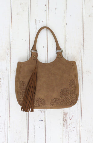 Perf Tote With Tassel In Tan