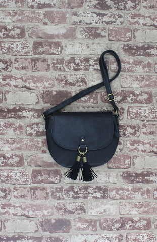 Saddle Bag with Tassels In Black